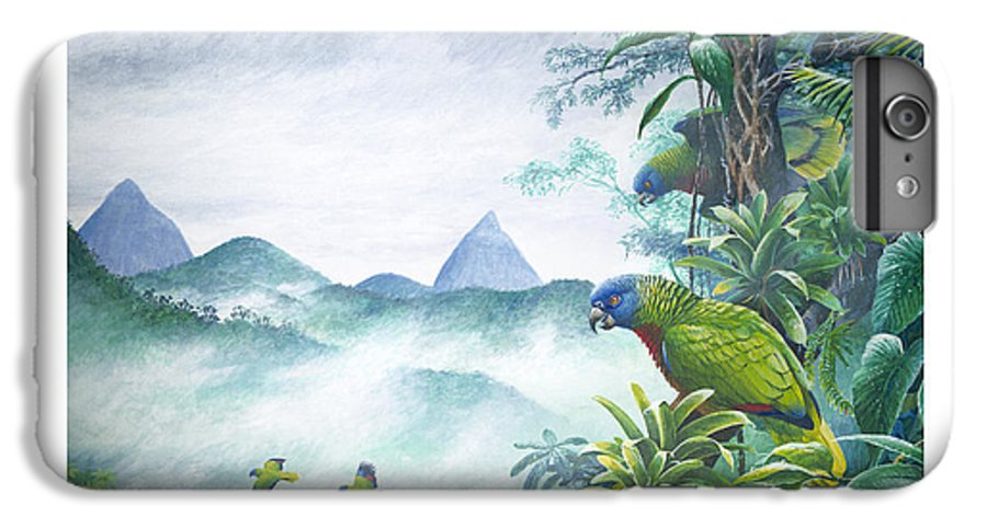 Chris Cox IPhone 6 Plus Case featuring the painting Rainforest Realm - St. Lucia Parrots by Christopher Cox