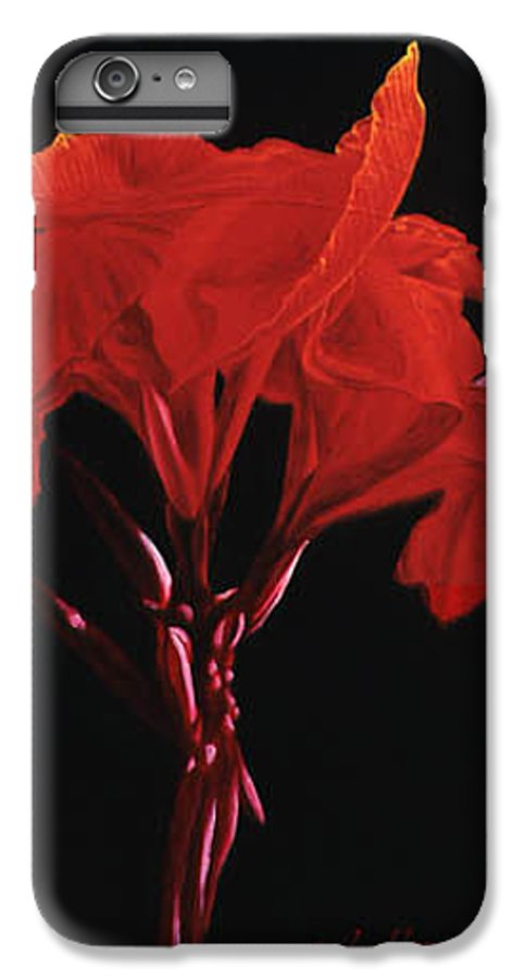 Floral IPhone 6 Plus Case featuring the painting Red Canna by Gary Hernandez