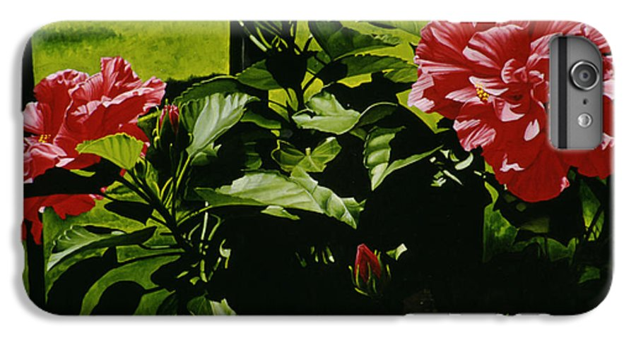 Floral IPhone 6 Plus Case featuring the painting Red Hibiscus by Gary Hernandez