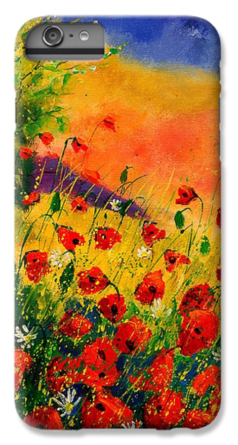 Poppies IPhone 6 Plus Case featuring the painting Red Poppies 45 by Pol Ledent