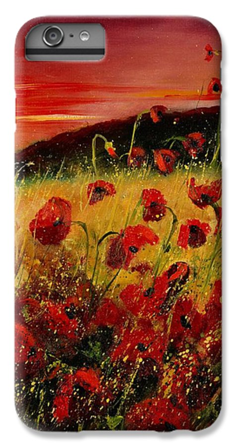 Poppies IPhone 6 Plus Case featuring the painting Red Poppies And Sunset by Pol Ledent