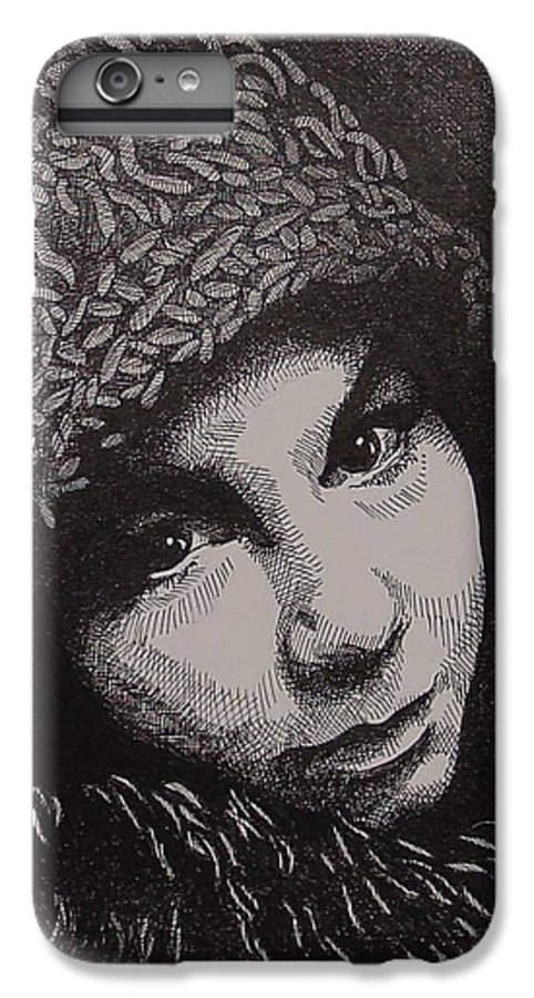 Portraiture IPhone 6 Plus Case featuring the drawing Rena by Denis Gloudeman