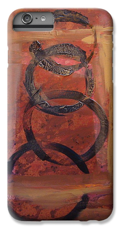 Abstract IPhone 6 Plus Case featuring the painting Rings - Circles Of Life by Holly Picano