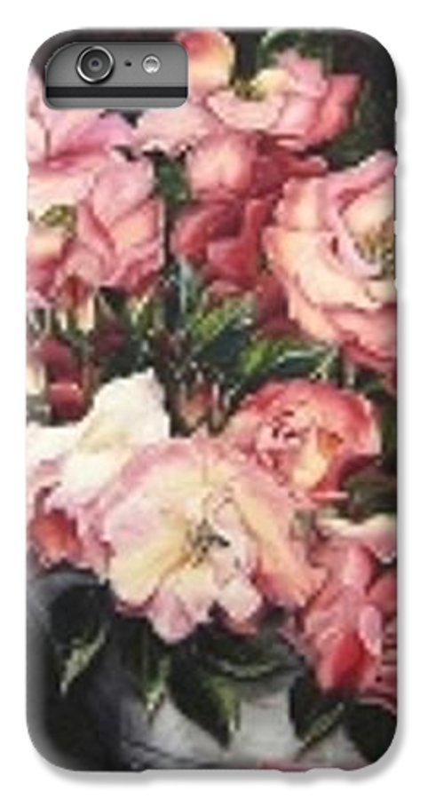 Pink Roses Floral Flowers IPhone 6 Plus Case featuring the painting Roses In A Watercan by Karin Dawn Kelshall- Best