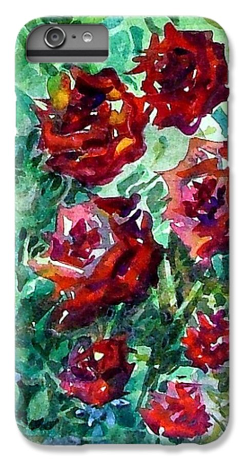 Rose IPhone 6 Plus Case featuring the painting Roses by Mindy Newman