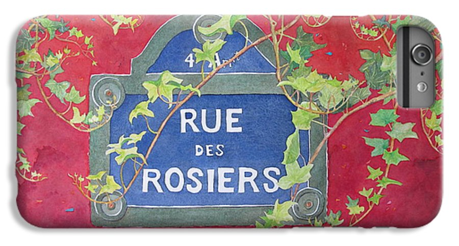 Red Wall IPhone 6 Plus Case featuring the painting Rue Des Rosiers In Paris by Mary Ellen Mueller Legault