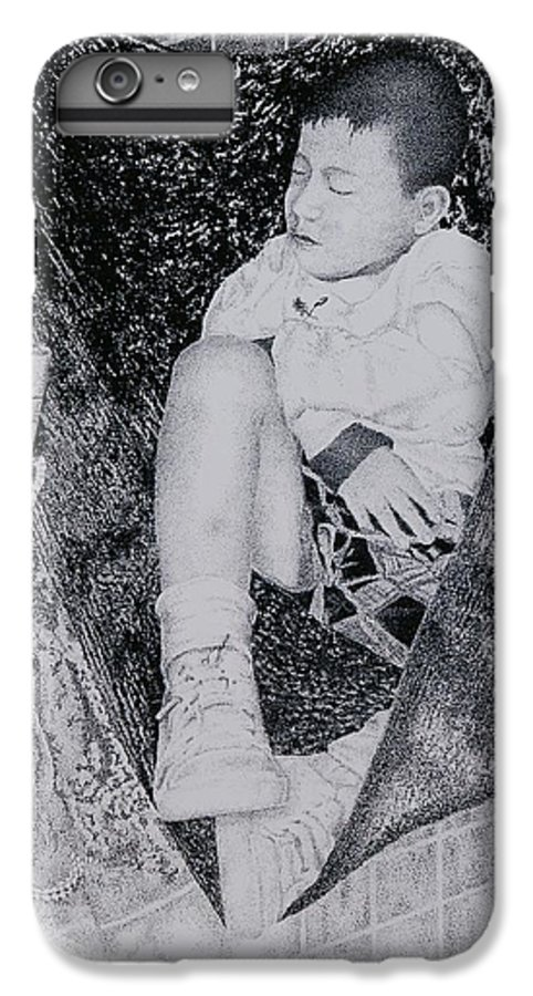 Tot Child Sleeping Boy IPhone 6 Plus Case featuring the painting Safety Net by Tony Ruggiero