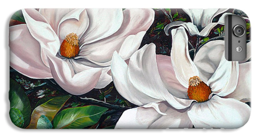 Magnolia Painting Flower Painting Botanical Painting Floral Painting Botanical Bloom Magnolia Flower White Flower Greeting Card Painting IPhone 6 Plus Case featuring the painting Scent Of The South. by Karin Dawn Kelshall- Best