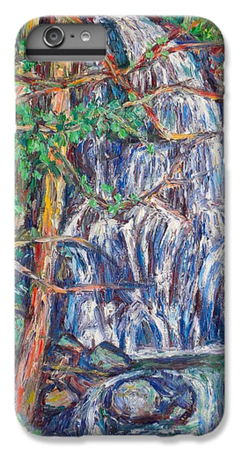 Waterfall IPhone 6 Plus Case featuring the painting Secluded Waterfall by Kendall Kessler