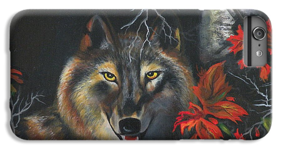Wolf IPhone 6 Plus Case featuring the painting Seneca by Lora Duguay