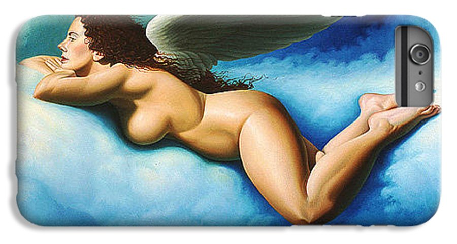 Winged Angel Floating On Blue White Clouds IPhone 6 Plus Case featuring the painting Serenity by Gary Hernandez