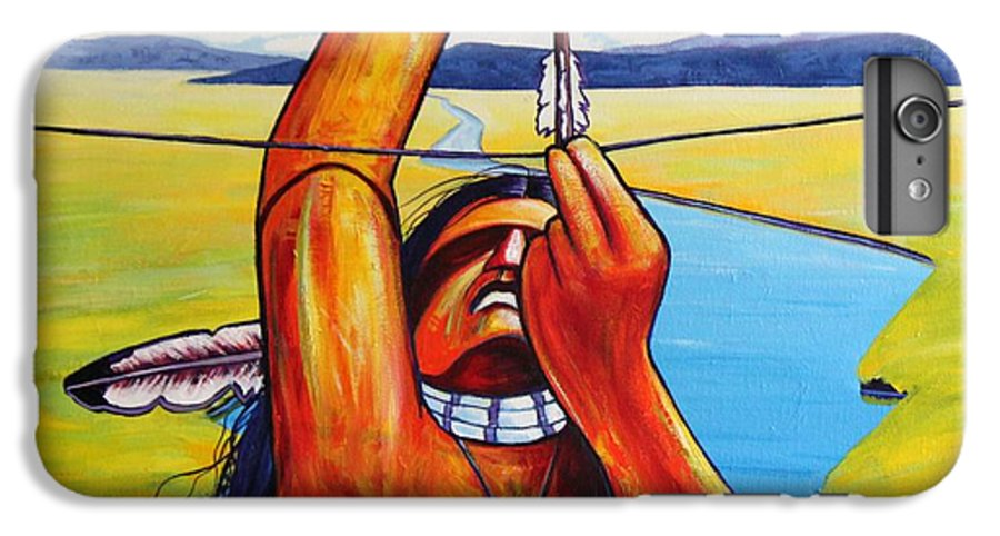 Native American IPhone 6 Plus Case featuring the painting Shamans Prayer by Joe Triano