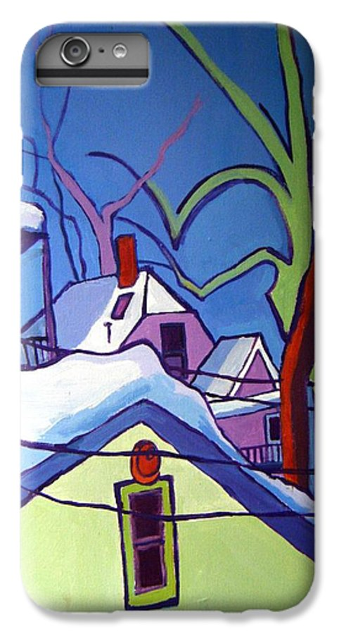 Buildings IPhone 6 Plus Case featuring the painting Sheffield Winter by Debra Bretton Robinson