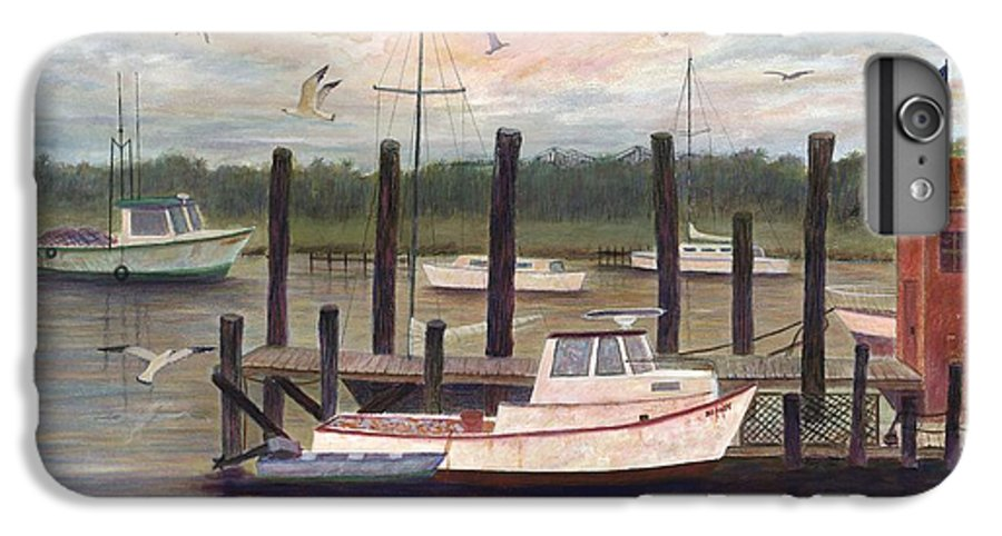 Charleston; Boats; Fishing Dock; Water IPhone 6 Plus Case featuring the painting Shem Creek by Ben Kiger