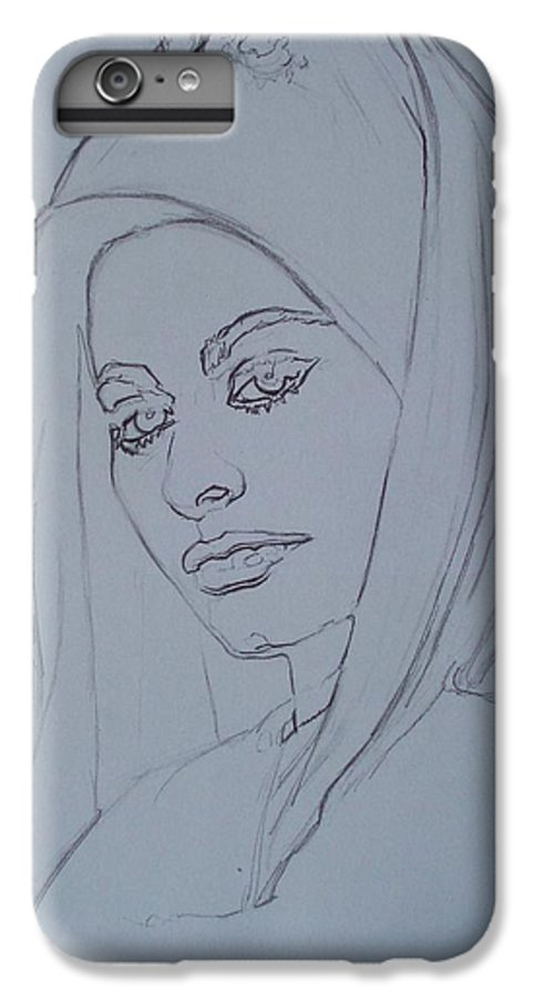Woman IPhone 6 Plus Case featuring the drawing Sophia Loren In Headdress by Sean Connolly