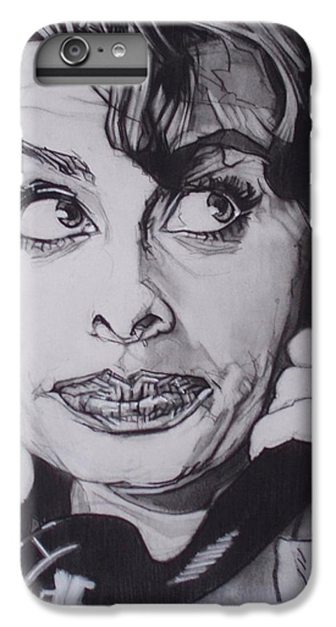 Charcoal;icon;actress;diva;italian;cat Eyes;beautiful;cute;adorable IPhone 6 Plus Case featuring the drawing Sophia Loren Telephones by Sean Connolly