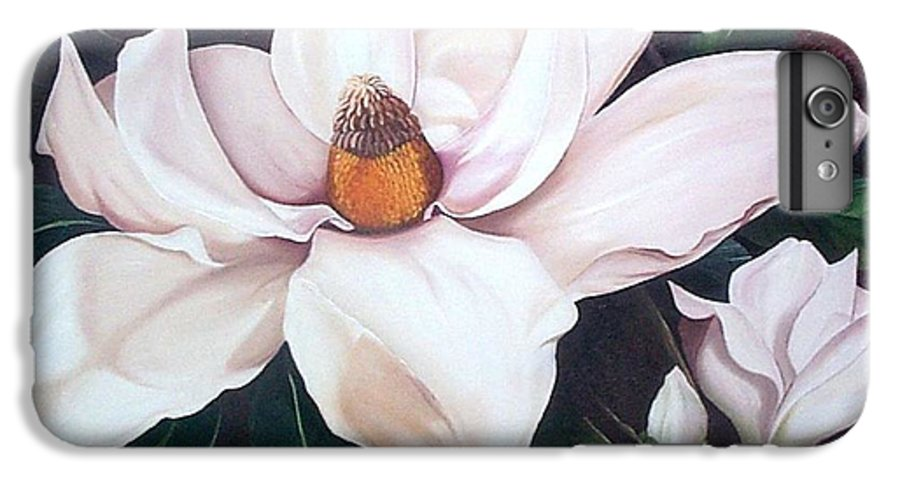 Magnolia Southern Bloom Floral Botanical White IPhone 6 Plus Case featuring the painting Southern Beauty by Karin Dawn Kelshall- Best