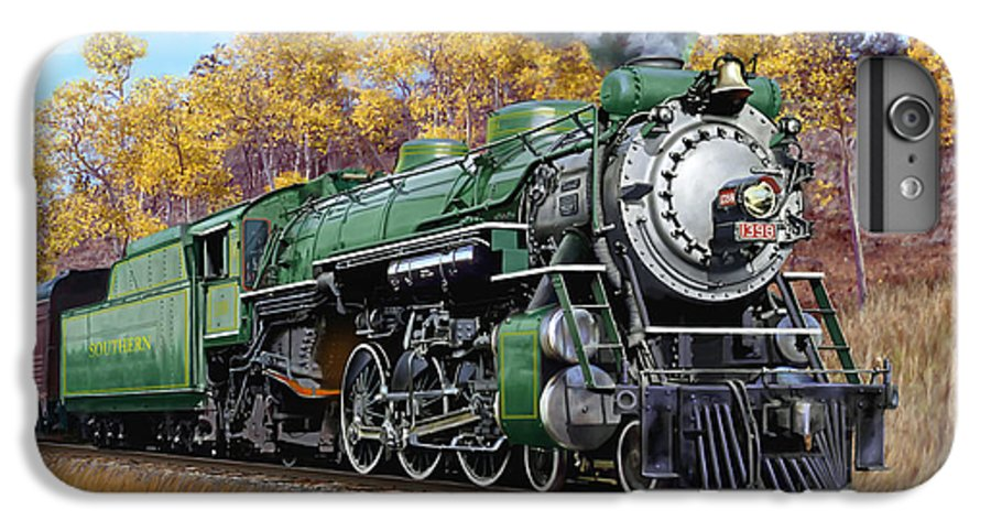 Railraod IPhone 6 Plus Case featuring the painting Southern Railway Class Ps-4 Pacific by Mark Karvon