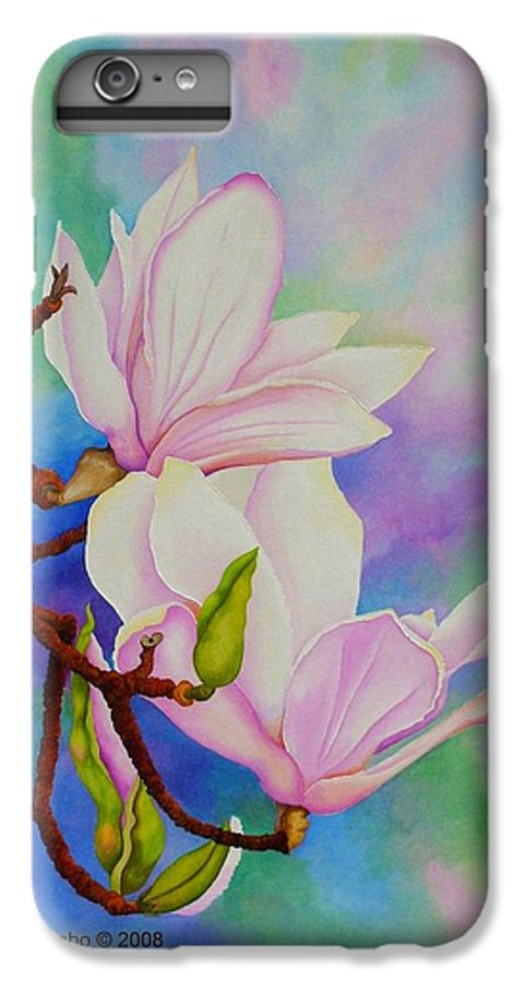 Pastels IPhone 6 Plus Case featuring the painting Spring Magnolia by Carol Sabo