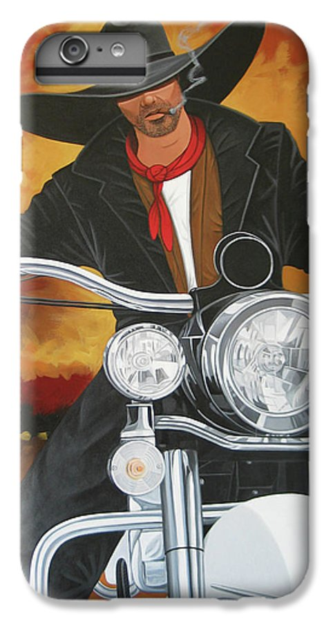 Cowboy On Motorcycle IPhone 6 Plus Case featuring the painting Steel Pony by Lance Headlee