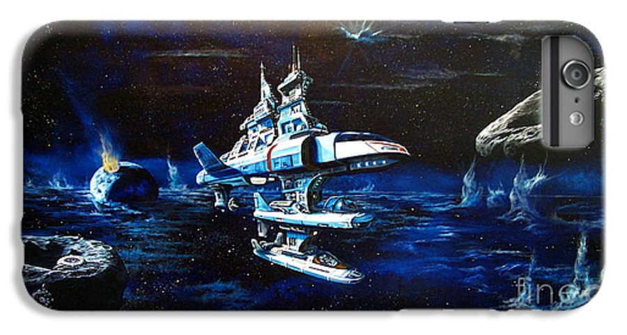 Alien IPhone 6 Plus Case featuring the painting Stellar Cruiser by Murphy Elliott