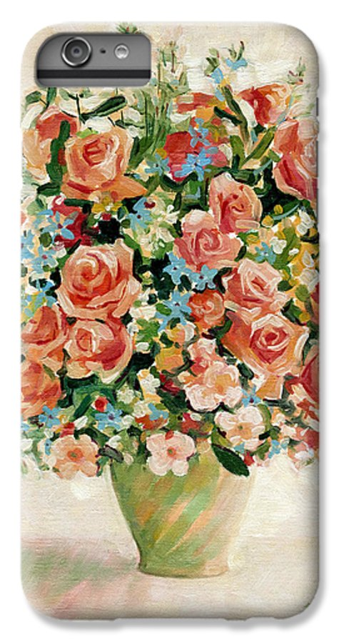 Flowers IPhone 6 Plus Case featuring the painting Still Life With Roses by Iliyan Bozhanov