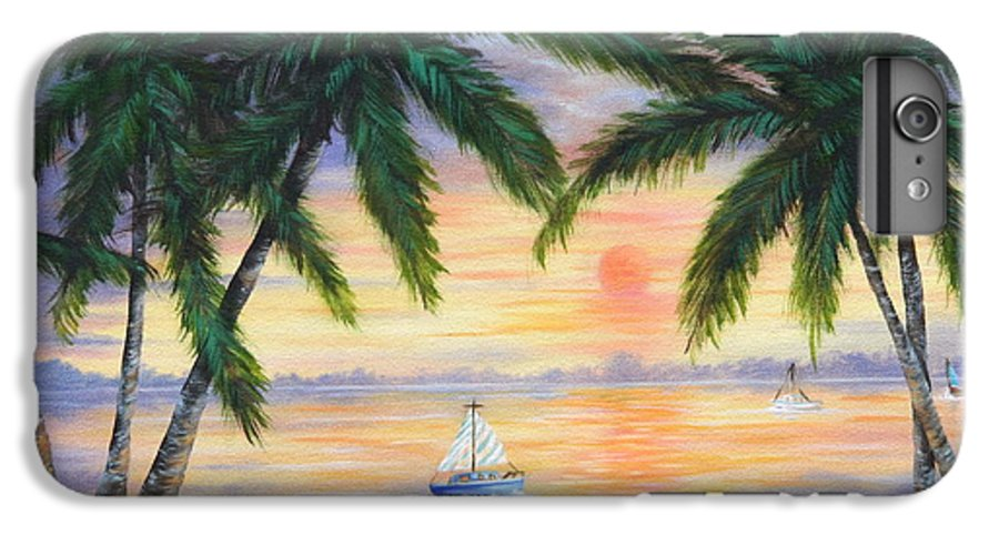 Seascape IPhone 6 Plus Case featuring the painting Summer Sunset by Ruth Bares