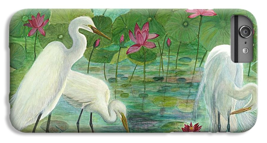 Lily Pads; Egrets; Low Country IPhone 6 Plus Case featuring the painting Summer Trilogy by Ben Kiger