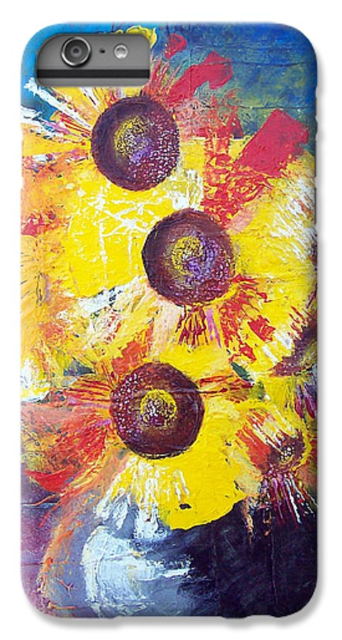 Flowers IPhone 6 Plus Case featuring the painting Sunflowers In Blue Vase by Valerie Wolf