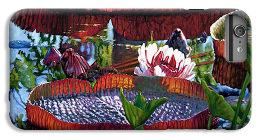 Garden Pond IPhone 6 Plus Case featuring the painting Sunlight Shining Through by John Lautermilch