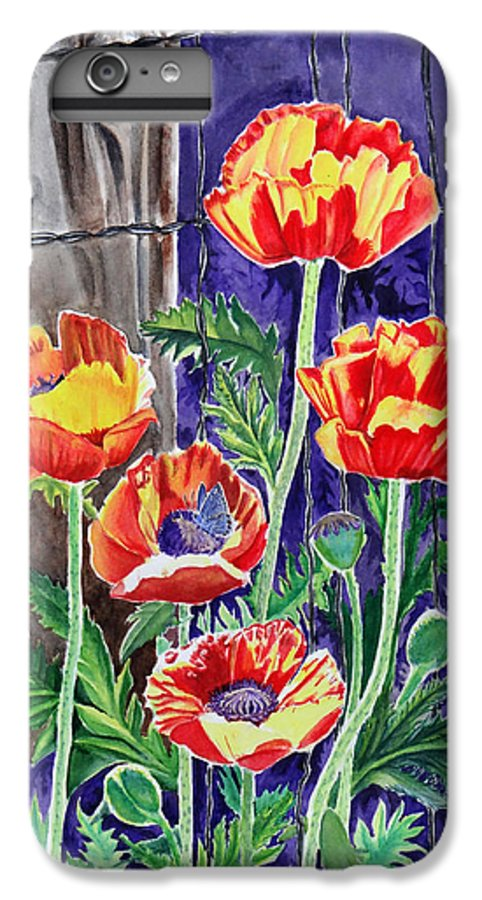 Poppy IPhone 6 Plus Case featuring the painting Sunlit Poppies by Heather Stinnett