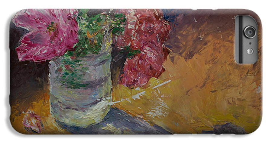 Oil IPhone 6 Plus Case featuring the painting Sunlit Roses by Horacio Prada