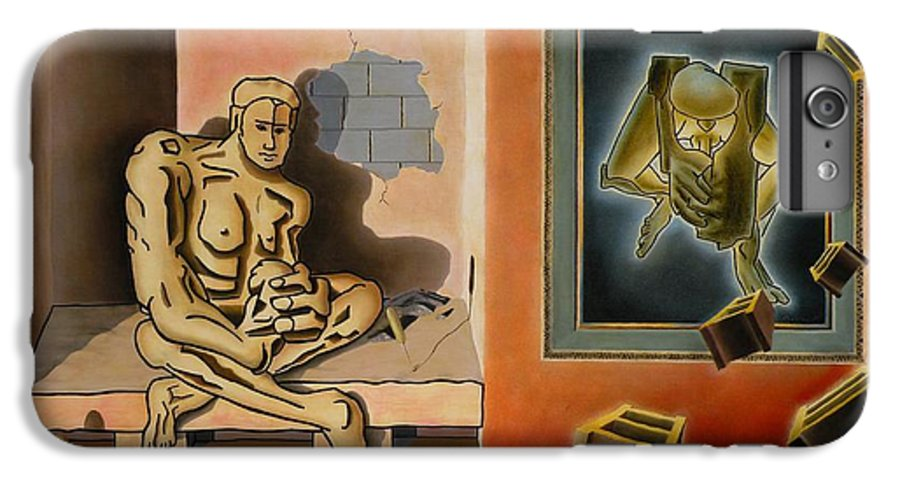 Surreal IPhone 6 Plus Case featuring the painting Surreal Portents Of Genius by Dave Martsolf