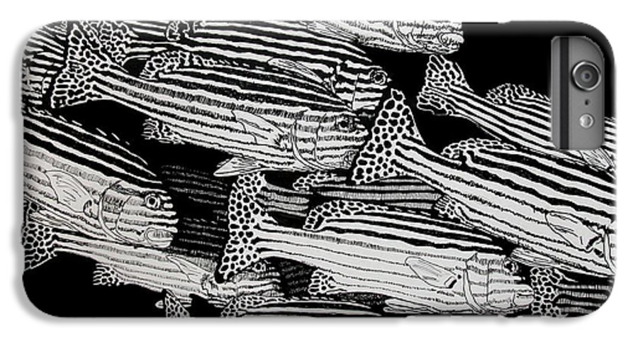Fish IPhone 6 Plus Case featuring the drawing Sweet Lip School by Denis Gloudeman