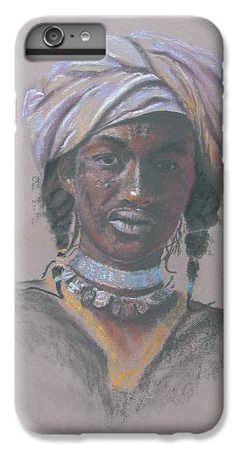 Portrait IPhone 6 Plus Case featuring the painting Tchad Warrior by Maruska Lebrun
