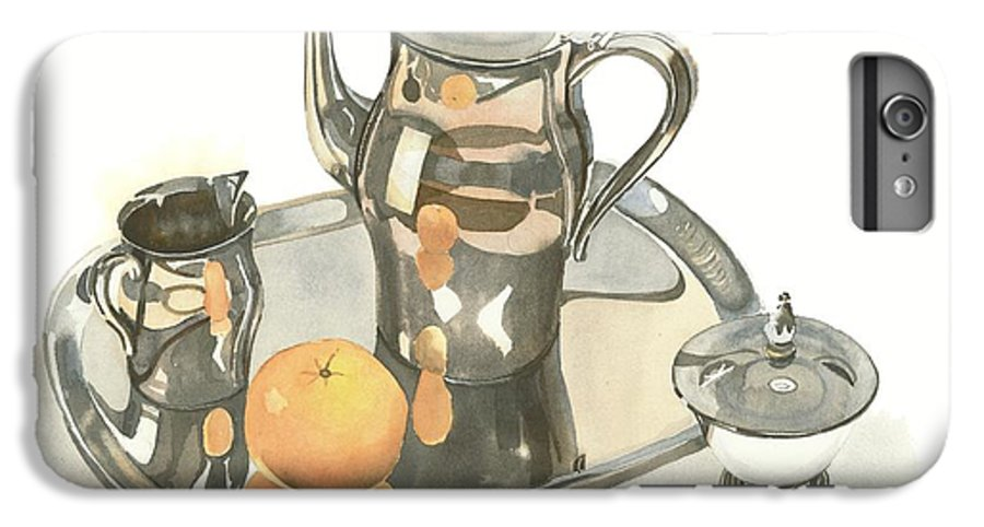 Tea Service With Orange IPhone 6 Plus Case featuring the painting Tea Service With Orange by Kip DeVore