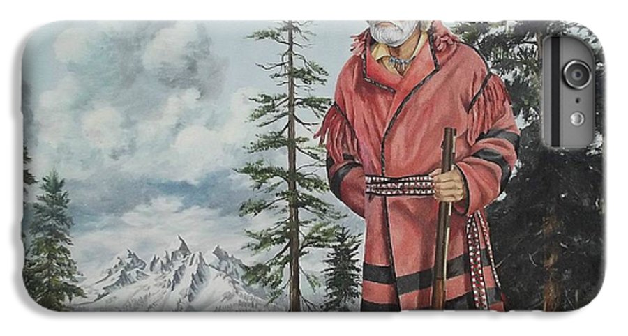 Landscape IPhone 6 Plus Case featuring the painting Terry The Mountain Man by Wanda Dansereau