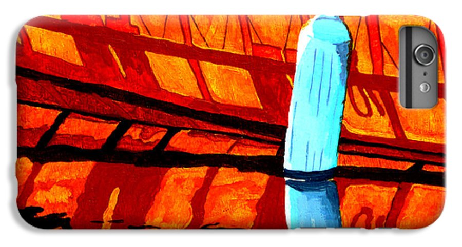 Canoe IPhone 6 Plus Case featuring the painting The Blue Fender by Anthony Dunphy