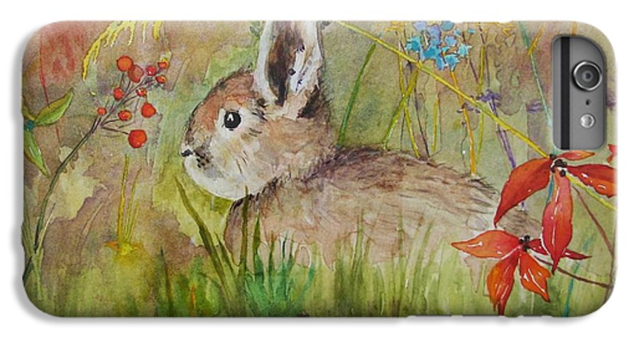 Nature IPhone 6 Plus Case featuring the painting The Bunny by Mary Ellen Mueller Legault
