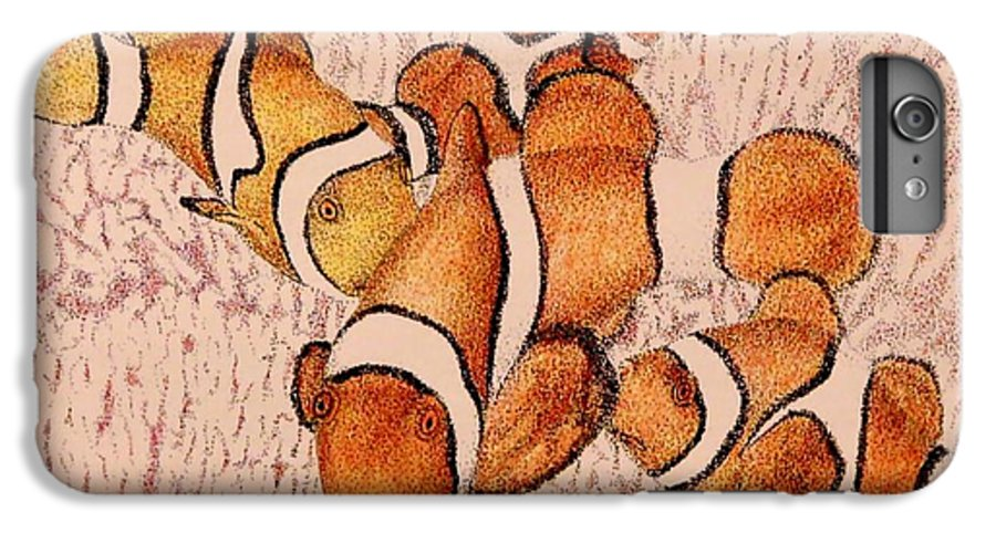Fish Aquarium Seascape Coral Clownfish Ocean IPhone 6 Plus Case featuring the drawing The Clowns by Tony Ruggiero