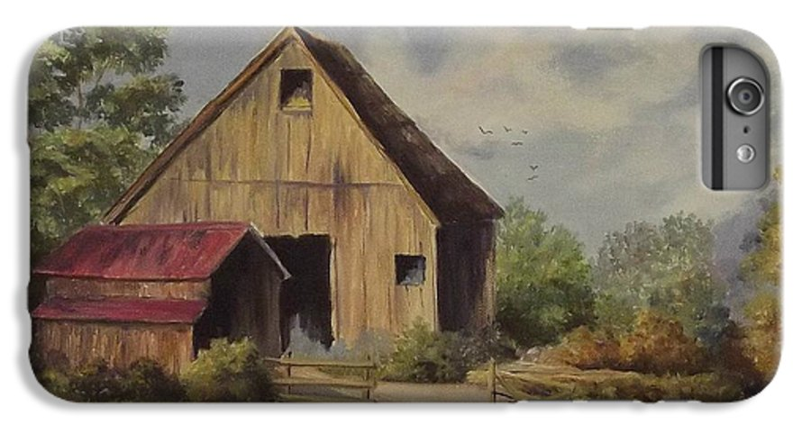 Landscape IPhone 6 Plus Case featuring the painting The Deserted Barn by Wanda Dansereau