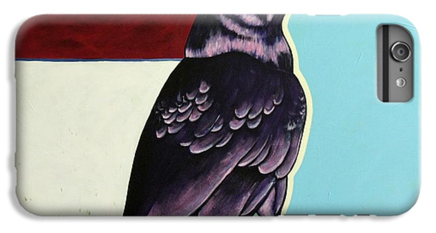 Wildlife IPhone 6 Plus Case featuring the painting The Gossip - Raven by Joe Triano