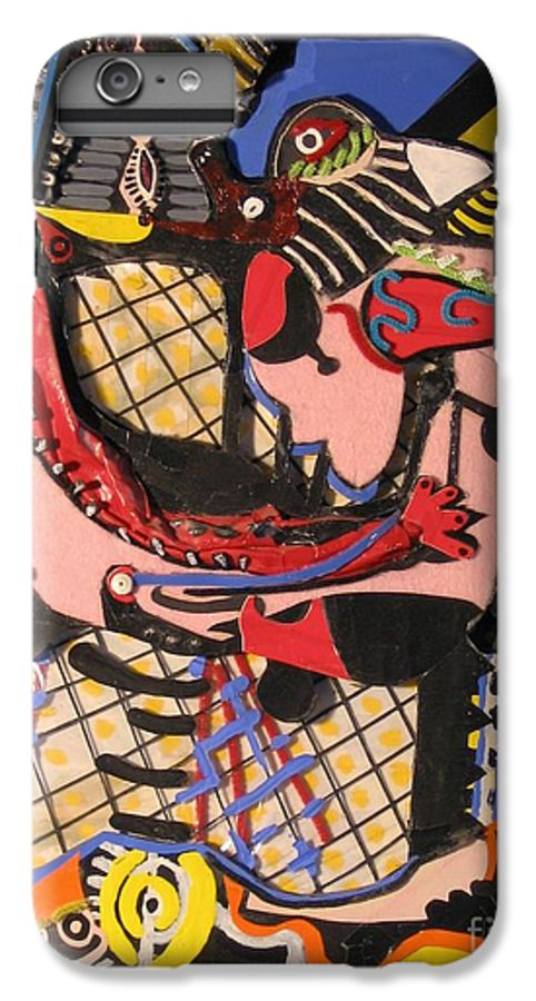 Abstract IPhone 6 Plus Case featuring the mixed media The Kiss Aka The Embrace After Picasso 1925 by Mack Galixtar