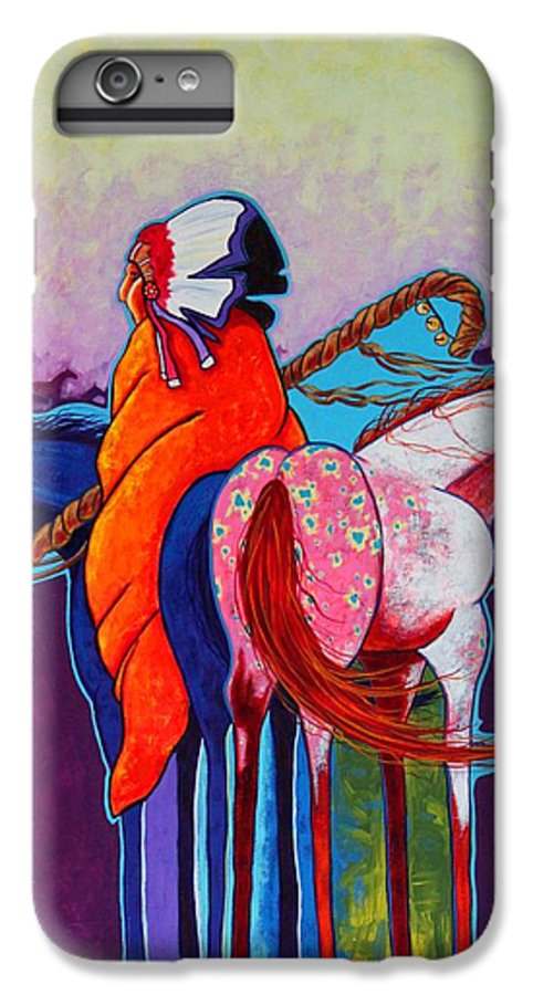 Native American IPhone 6 Plus Case featuring the painting The Peacemakers Gift by Joe Triano