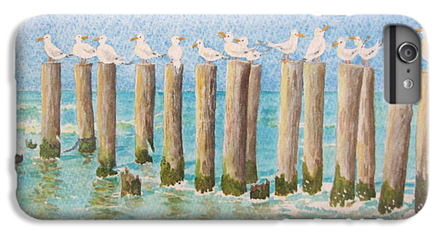 Seagulls IPhone 6 Plus Case featuring the painting The Town Meeting by Mary Ellen Mueller Legault
