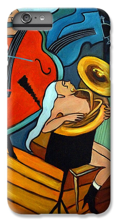 Musician Abstract IPhone 6 Plus Case featuring the painting The Tuba Player by Valerie Vescovi
