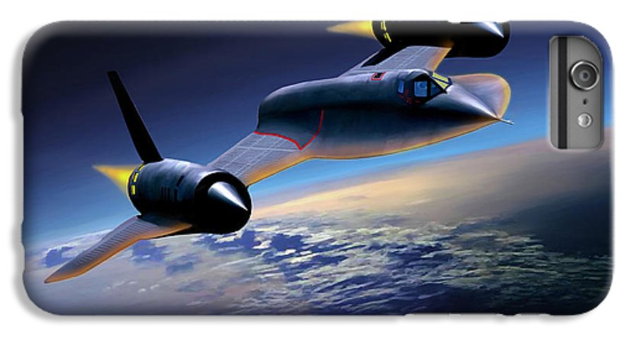 Airplane IPhone 6 Plus Case featuring the painting The Untouchable Sr-71 Blackbird by Mark Karvon