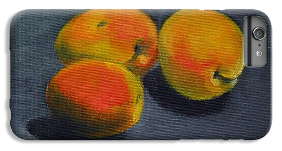 Food IPhone 6 Plus Case featuring the painting Three Apricots by Sarah Lynch