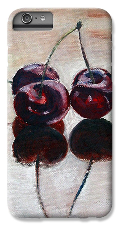 Food IPhone 6 Plus Case featuring the painting Three Cherries by Sarah Lynch