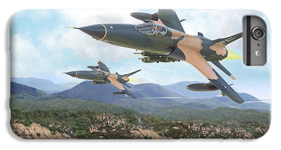 F-105 Thunderchief IPhone 6 Plus Case featuring the painting Thuds Bringin' It Downtown by Mark Karvon